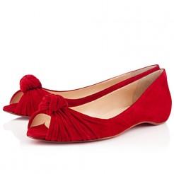 Replica Christian Louboutin Turban Nappa Ballerinas Red Cheap Fake Shoes