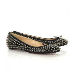 Replica Christian Louboutin Big Kiss Studded Ballerinas Black Cheap Fake Shoes