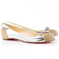 Replica Christian Louboutin Silver Ballerinas Cheap Fake Shoes