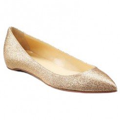 Replica Christian Louboutin Pigalle Glitter Ballerinas Gold Cheap Fake Shoes