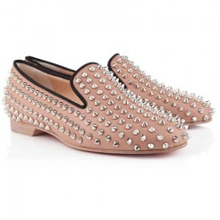 Replica Christian Louboutin Rolling Spikes Loafers Nude Cheap Fake Shoes