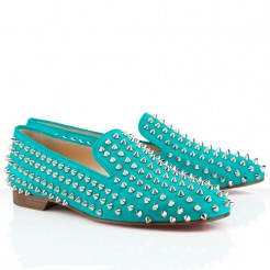 Replica Christian Louboutin Rolling Spikes Loafers Caraibes Cheap Fake Shoes