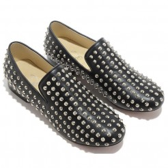 Replica Christian Louboutin Rolling Spikes Loafers Black Cheap Fake Shoes