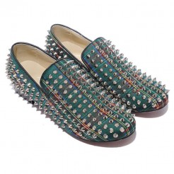 Replica Christian Louboutin Rolling Spikes Loafers Green Cheap Fake Shoes
