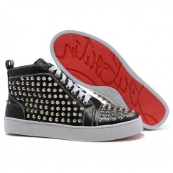 Replica Christian Louboutin Louis Silver Spikes Sneakers Black Cheap Fake Shoes