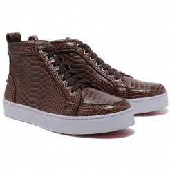 Replica Christian Louboutin Louis Python Sneakers Brown Cheap Fake Shoes
