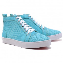 Replica Christian Louboutin Louis Python Sneakers Blue Cheap Fake Shoes