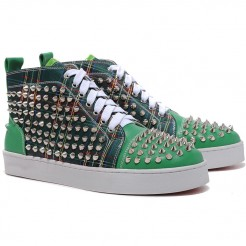 Replica Christian Louboutin Louis Spikes Sneakers Green Cheap Fake Shoes