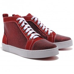 Replica Christian Louboutin Louis TarTaupe Sneakers Red Cheap Fake Shoes