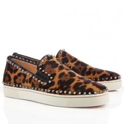 Replica Christian Louboutin Pik Boat Sandals Leopard Cheap Fake Shoes