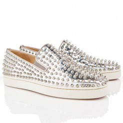 Replica Christian Louboutin Roller Boat Loafers Silver Cheap Fake Shoes
