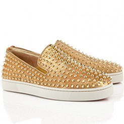 Replica Christian Louboutin Roller Boat Loafers Gold Cheap Fake Shoes