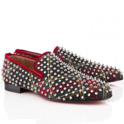 Replica Christian Louboutin Rollerboy Spikes Loafers Red Cheap Fake Shoes