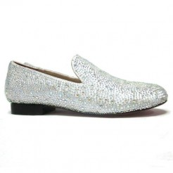 Replica Christian Louboutin Strass Loafers White Cheap Fake Shoes