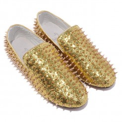 Replica Christian Louboutin Rollerboy Spikes Loafers Gold Cheap Fake Shoes