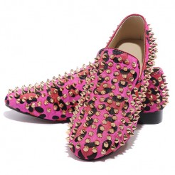 Replica Christian Louboutin Rollerboy Spikes Loafers Rose Matador Cheap Fake Shoes