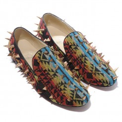 Replica Christian Louboutin Rollerboy Spikes Loafers Multicolor Cheap Fake Shoes
