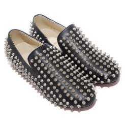 Replica Christian Louboutin Rollerboy Silver Spikes Loafers Black Cheap Fake Shoes