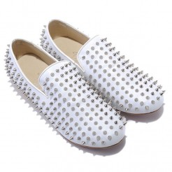 Replica Christian Louboutin Rollerboy Silver Spikes Loafers White Cheap Fake Shoes
