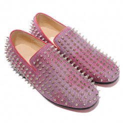 Replica Christian Louboutin Rollerboy Silver Spikes Loafers Red Cheap Fake Shoes