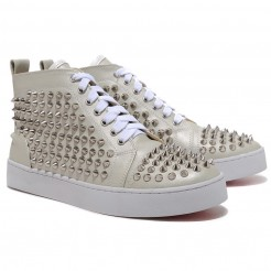 Replica Christian Louboutin Louis Silver Spikes Sneakers Beige Cheap Fake Shoes
