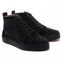 Replica Christian Louboutin Louis Strass Sneakers Black Cheap Fake Shoes