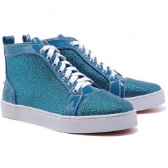Replica Christian Louboutin Louis Strass Sneakers Blue Cheap Fake Shoes