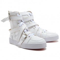 Replica Christian Louboutin Louis Rhinestones Sneakers White Cheap Fake Shoes