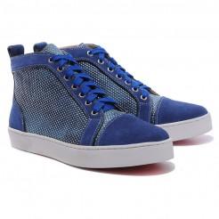 Replica Christian Louboutin Louis Rhinestones Sneakers Blue Cheap Fake Shoes