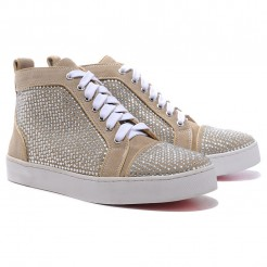 Replica Christian Louboutin Louis Rhinestones Sneakers Taupe Cheap Fake Shoes