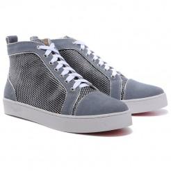 Replica Christian Louboutin Louis Rhinestones Sneakers Grey Cheap Fake Shoes