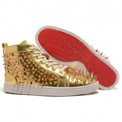 Replica Christian Louboutin Louis Pik Pik Sneakers Gold Cheap Fake Shoes