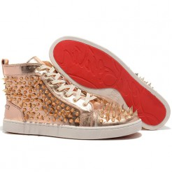 Replica Christian Louboutin Louis Pik Pik Sneakers Bronze Cheap Fake Shoes
