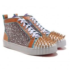 Replica Christian Louboutin Louis Spikes Sneakers Multicolor Cheap Fake Shoes