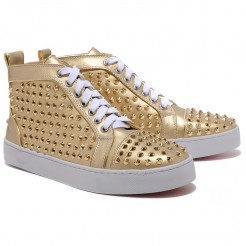 Replica Christian Louboutin Louis Gold Spikes Sneakers Gold Cheap Fake Shoes