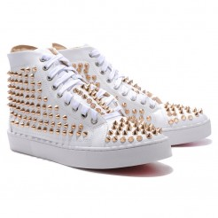 Replica Christian Louboutin Louis Gold Spikes Sneakers White Cheap Fake Shoes