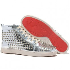 Replica Christian Louboutin Louis Spikes Sneakers Silver Cheap Fake Shoes