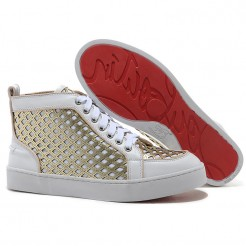 Replica Christian Louboutin Louis Spikes Sneakers White Cheap Fake Shoes