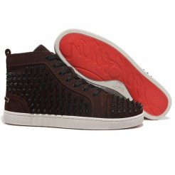 Replica Christian Louboutin Louis Spikes Sneakers Brown Cheap Fake Shoes