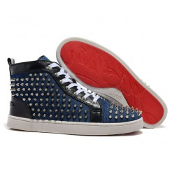 Replica Christian Louboutin Louis Spikes Sneakers Blue Cheap Fake Shoes