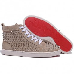 Replica Christian Louboutin Louis Spikes Sneakers Taupe Cheap Fake Shoes