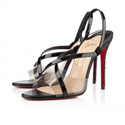 Replica Christian Louboutin Coup De Bleu 100mm Sandals Black Cheap Fake Shoes