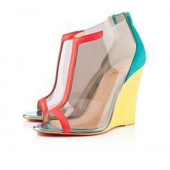 Replica Christian Louboutin Scuba 100mm Wedges Caraibes/Canari Cheap Fake Shoes