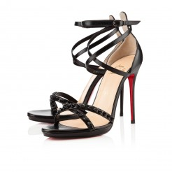 Replica Christian Louboutin Monocronana 120mm Sandals Black Cheap Fake Shoes