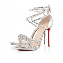 Replica Christian Louboutin Monocronana 120mm Sandals Silver Cheap Fake Shoes