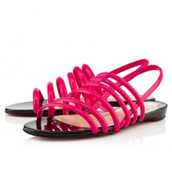 Replica Christian Louboutin Vildo Flat Sandals Rose Matador/Black Cheap Fake Shoes