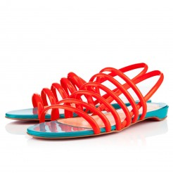 Replica Christian Louboutin Vildo Flat Sandals Flame Cheap Fake Shoes