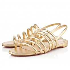 Replica Christian Louboutin Vildo Flat Sandals Gold Cheap Fake Shoes
