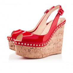 Replica Christian Louboutin Monico 140mm Wedges Rose Matador Cheap Fake Shoes