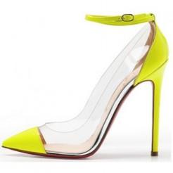 Replica Christian Louboutin Bis Un Bout 120mm Pumps Yellow Cheap Fake Shoes
